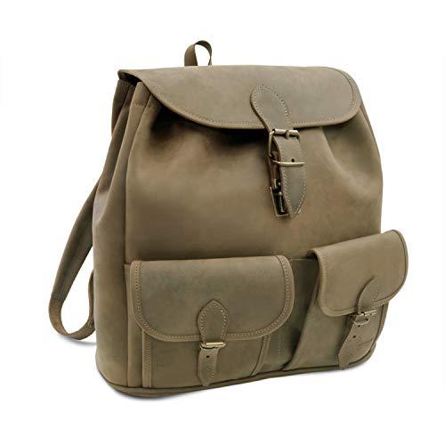 Made in Germany Lederrucksack - Daypack Milano aus braunem Leder im Vintage Look inkl. Bio-Lederpflege von THIELEMANN
