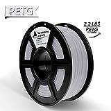 Weiß PETG 3D-Filament, 3D-Druckmaterialien, Maßgenauigkeit +/- 0,02 mm, 2,2 LBS (1 kg) Spule