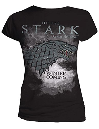 Game of Thrones - House Stark, Short sleeve da donna, grigio (charcoal grey), Small