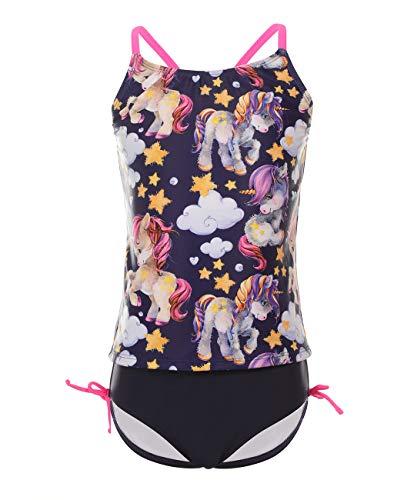 iDrawl Baby Bikini Set Sommer Tankini Schwarz Bademode Mädchen Schwimmen Top+Slip,für 8-10 Jahre