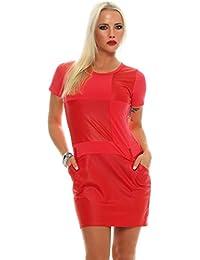 5678 Fashion4Young Damen Kurzarm Minikleid im eleganten Etui-Stil Shirt-Kleid