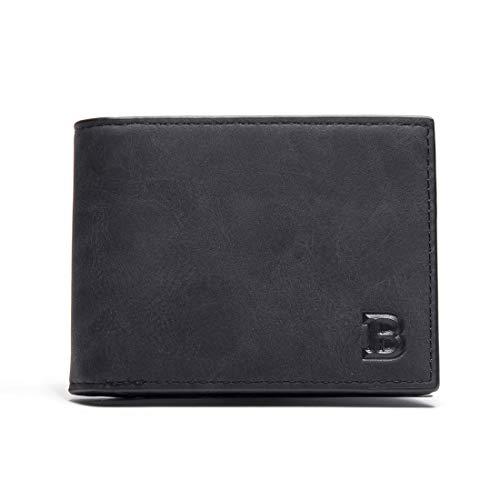 Moda corto estilo de lujo de los hombres de negocios clip de dinero corto carteras titular de la tarjeta Slim diseñador de cuero de la PU monedero hombre carteras
