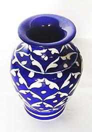 SHIV KRIPA Ceramic Hand Painted Decorative Vase (5 Inch, Blue)
