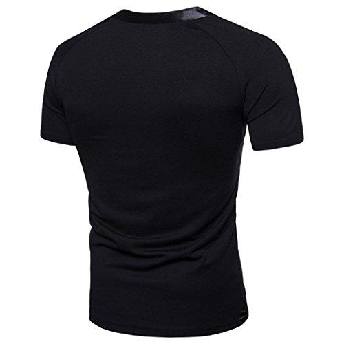 Herren T-Shirt Ursing Männer Brief Drucken Kurzarmshirt Basic Shirts Mode Tee Casual Bluse Sommer Oberteil Oversize Slim Fit V-Ausschnitt Patchwork Sweatshirt Sommerhemd Freizeitshirt Schwarz