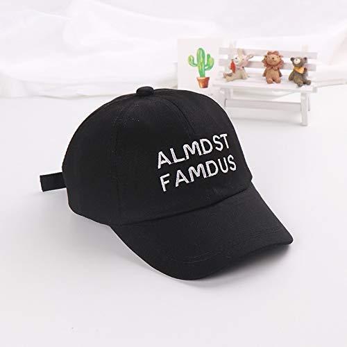mlpnko Nuevos Sombreros para niños Letras para niños Gorras de béisbol Bordadas Marea para niñas Visera para bebé Dos líneas - Negro 50-52cm Adecuado para 2-5 años