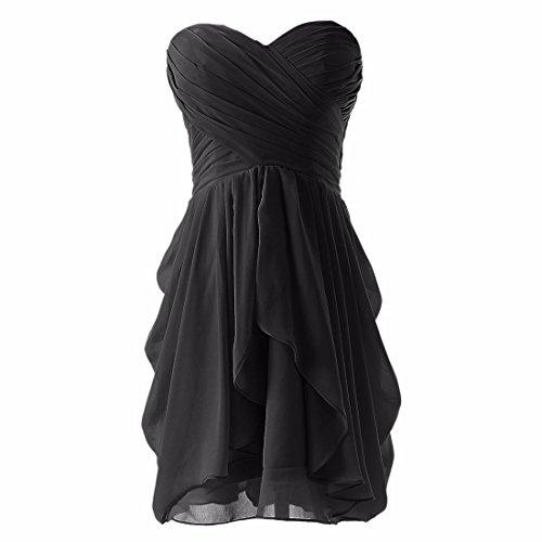 QIYUN.Z Frauen Trägerloses Gefaltetes Cocktailparty-Abend-Kleid-Chiffon- Hochzeitskleid Schwarz
