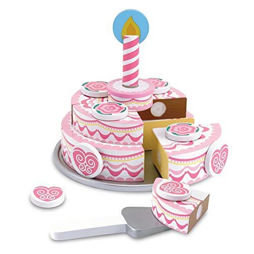 Melissa & Doug - Tarta de tres pisos, de madera (14069) - Por niveles de juego torta madera - Incluye ocho rebanadas de pastel, ocho ingredientes mix-and-match, placa de la torta, que sirve el cuchillo y la vela. - Lengüetas autoadhesivas se cone...