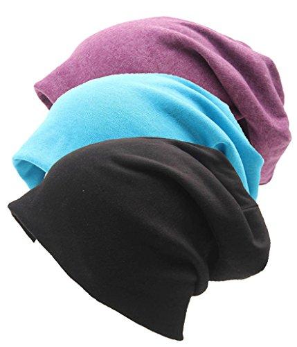 I VVEEL Unisex Innenraum Baumwolle Stretch Beanie Hat - Soft Schlafen Cap für Haarausfall, Krebs, Chemo