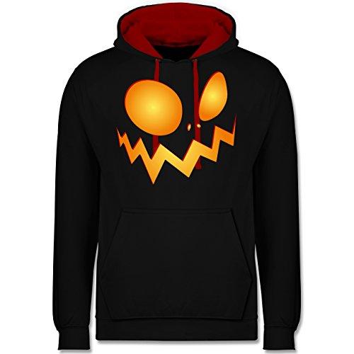 Halloween - Kürbisgesicht groß Pumpkin - Kontrast Hoodie Schwarz/Rot