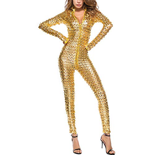 IWEMEK Damen Glanz Catsuit Leder Hollow Jumpsuit Lack Overall Zipper Wetlook Catwoman Transparent Hosenanzug Langarm Bodysuit Cosplay Kostüm Playsuit Latex Body Dessous Nachtwäsche Clubwear Gold M