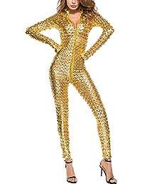 9282f991c379e4 IWEMEK Damen Glanz Catsuit Leder Hollow Jumpsuit Lack Overall Zipper  Wetlook Catwoman Transparent Hosenanzug Langarm…