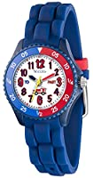 Tikkers Children's Fire Engine Design Blue Rubber Silicone Strap Time Teacher Watch - NTK0009