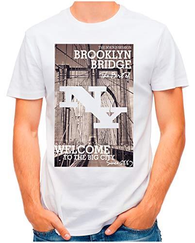 OM3® - Brooklyn-Bridge - T-Shirt   Herren   NY Manhattan Since1883 East River   Weiß, L