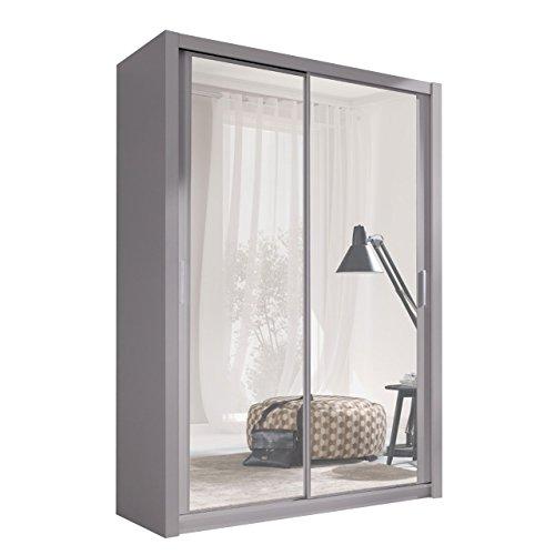 Kleiderschrank mit Spiegel Geodi, Elegante und Modernes Schwebetürenschrank, Schiebetür, Schlafzimmerschrank, Schlafzimmer, Jugendzimmer (150 cm, Grau)