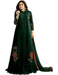 Women's Green Color Georgette Semi Stitched Anarkali Salwar Suit Piece
