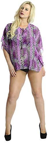 Schiere Lila Kleid (LA LEELA superleichten Bikini-Vertuschung Tunika Grund Kleid lila Frauen lässig Schiere Chiffon 5 Unzen Jahrgang künstlerischen Badeanzug hawaiische 4 in 1 Strandbadebekleidung Zeitkleidung)