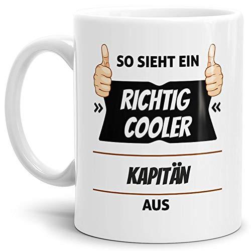 Tassendruck Berufe-Tasse so Sieht Ein Richtig Cooler Kapitän aus Weiss/Job / mit Spruch/Kollegen /...