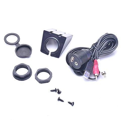 Auto USB & 2 Cinch RCA Phono auf 3,5 mm Aux Adapter Verlängerungskabel Armaturenbrett Flush Mount Kit 1/8 AUX für Radio Stereo Android Wince GPS Head Unit DVD CD Media Player 2M (Rca Auto Stereo-adapter)