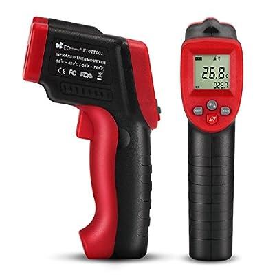 EC Technology berührungsfreies Infrarot Thermometer Pyrometer -50 bis + 420 °C mit LCD Display. Laser Thermometer Pyrometer mit Daten Speicher Funktion - schwarz/rot