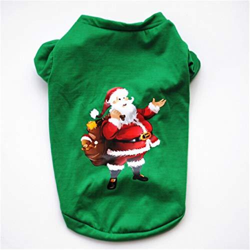 ustier Kleidung Hund Weihnachtsmann Schneemann Festival Kostüm Puppy Warme Hoodies Kostüm Bekleidung für Weihnachten Geschenk,L Code grün Santa Claus,Size(L-Code) ()