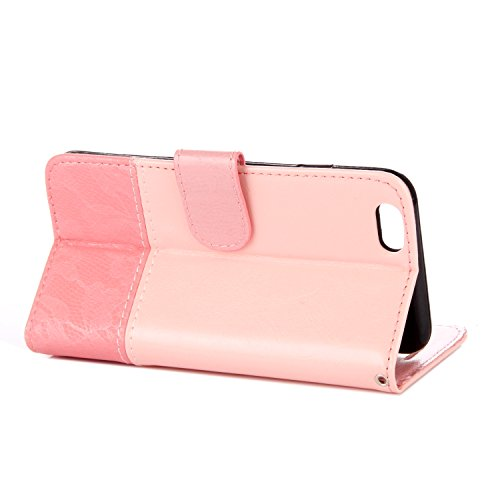 iPhone 6/6S Coque, Voguecase Étui en cuir synthétique chic avec fonction support pratique pour Apple iPhone 6/6S 4.7 (Dentelle-marron/noir)de Gratuit stylet l'écran aléatoire universelle Dentelle-pink