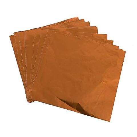 100Pcs Square Aluminium Foil Wrapper für Schokolade Süßigkeiten Candy Packung 8 x 8cm - Orange