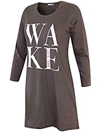 Damen Nachthemd Schlafhemd langarm Damen Sleep Shirt Damen Nachthemd aus 100% Baumwolle softweich Gr. S M L XL