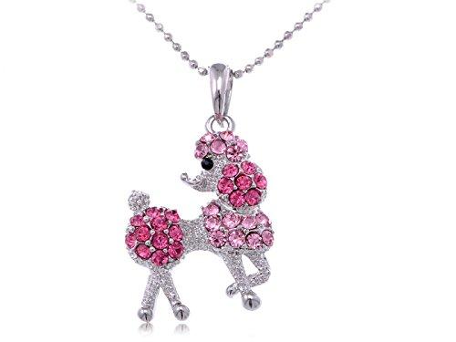 Alilang Silberton Rose Pink Strass Pudel-Welpen-Hund-Anhänger-Halskette (Perlen Großhandel Neuheit)