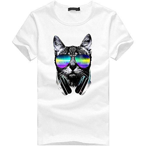 Yanhoo Männer Boy Plus Size Print Tees Shirt Kurzarm Baumwolle T-Shirt Bluse Tops Damen Sommer Hemden Longblusen Strandbluse Blusen Vest Casual Stretch (L, Weiß-37)