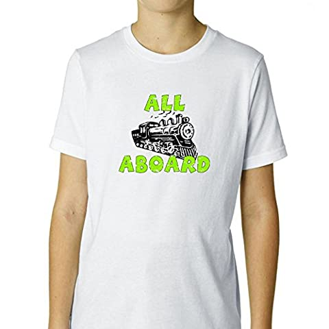 All Aboard! - Train - Special Green & Black Graphic Boy's Cotton Youth T-Shirt