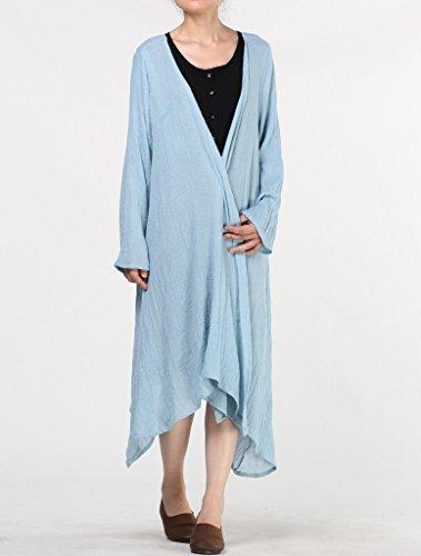 MatchLife Femme Manches Longues Ourlet Irrégulier Plaid Coton Manteau Manches Longues-Bleu
