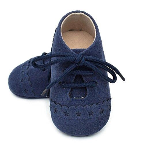 BZLine® Baby Sneaker rutschfest weiche Sohle Kleinkind Schuhe Schnürschuhe Dunkelblau
