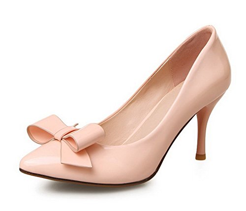 AllhqFashion Damen Lackleder Ziehen Auf Spitz Zehe Hoher Absatz Rein Pumps Schuhe Pink