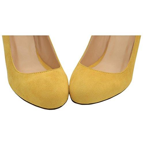 EKS Damen Famk Runde Zehe High Heels| Keilpumpen Wedges Pumps Damenschuhe Gelb-Faux Wildleder