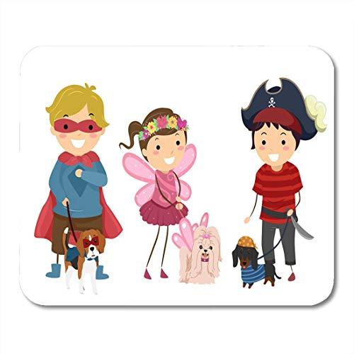 Deglogse Gaming-Mauspad-Matte, Best of Stickman Kids Wearing Halloween Costume Their Pet Mouse Pad, Desktop Computers mats