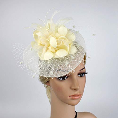QIMANZI Fascinator Haar Clip Haar Accessoire Tea Party Hochzeitskirche Kopfbedeckung für Frauen Cocktail Hochzeit Tea Party Hat(Beige)