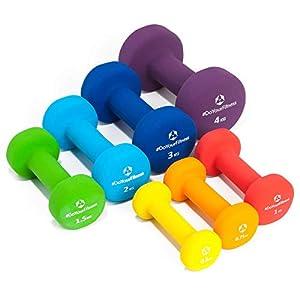 2er-Set Hanteln 0,5kg, 0,75kg, 1kg, 1,5kg, 2kg, 3kg & 4kg / rutschfeste & griffige Neoprenoberfläche »Peso« Kurzhanteln (Aerobic-Gewichte) in verschiedenen Gewichts- und Farbvarianten / 100% Eisen