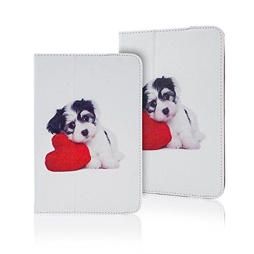 Tablet Fällen Herz (Universal Design Fashion Tasche für verschiedene Tablet Modelle Schutz Case Hülle Cover (9 / 10 Zoll, Welpe mit Herz))