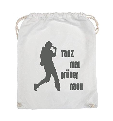 Comedy Bags - TANZ MAL DRÜBER NACH - FIGUR - Turnbeutel - 37x46cm - Farbe: Schwarz / Silber Weiss / Grau