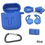 ShengJ Anti-Rutsch-Silikonhülle für Kopfhörer, mit Draht-Ohrstöpsel, für AirPods, blau