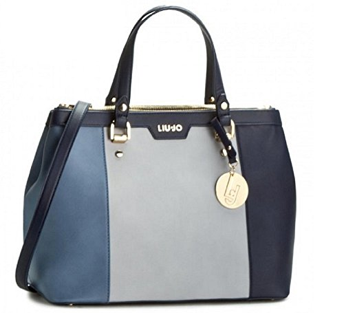 Borsa shopping Liu Jo 2 zip cannes blu grigia turchese