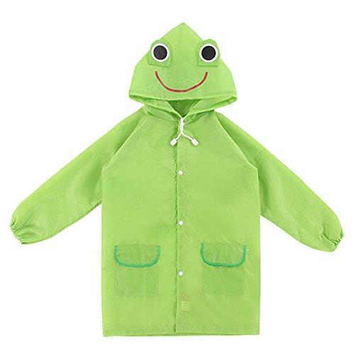 asserdicht für Kinder, Cartoon-Regenbekleidung für Kinder,Tragbarer Poncho mit Kapuze für Jungen, Mädchen, Langarm-Regenmantel für Schüler zurück in die Schule, Geschenke (grün) ()