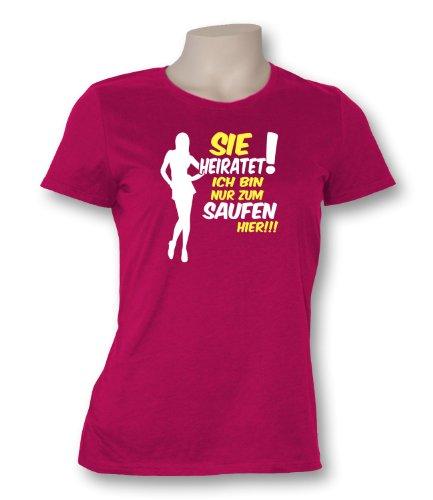 Luckja Damen T-Shirt Sie Heiratet! Ich bin nur zum saufen hier Sorbet / Bunt