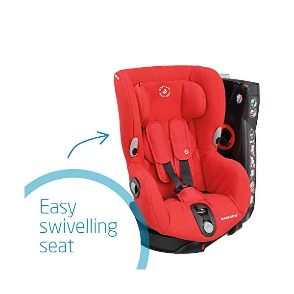 Maxi-Cosi Axiss Swiveling Toddler Car Seat, Extra Secure Fit, Reclining, 9 Months-4 Years, 9-18 kg, Nomad Red Maxi-Cosi 90 degrees swivel to secure the child and take them out more easily Simultaneous harness and headrest adjustment to perfectly fit the growing child Convenient belt hooks keeps the harness open when placing the child in the seat 4