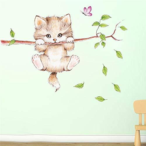 JIA Chats Arbre Branche Papillon Interrupteur Sticker Mural Chambre Salon décoration Art Animalier Autocollant Stickers muraux Art Affiche