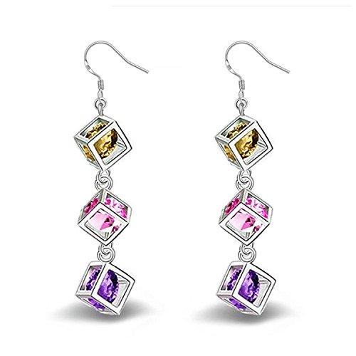 TOOGOO 1 paire Mode Charme Elegant Boucles doreilles carrees en diamant Bijoux Boucles doreilles Pour Femmes Filles Cadeaux