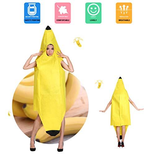 Yissma Bananen Kostüm Halloween Bananen Bodysuit Karnevalskostüme Rollenspiel Kleidung Party Kostüm für Kinder/Erwachsene