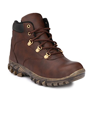 Wave Walk Brown Men's Faux Leather Casual Steel Toe Safety Boots  available at amazon for Rs.799