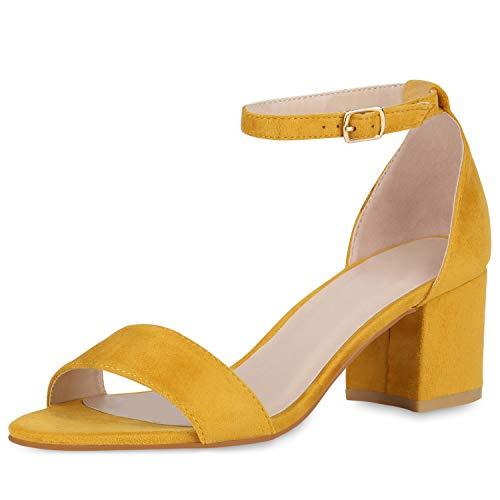 SCARPE VITA Klassische Damen Sandaletten Basic Wildleder-Optik Sommer Schuhe Blockabsatz Riemchensandaletten Absatzschuhe 176302 Gelb 39