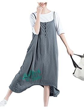 Mujer Chicas Vestido Peto Largo Anchos Casual Elegante Fiesta Tallas Grandes